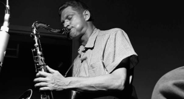 Zoot Sims on the tenor sax, during the recording session for the 1956 album, Jutta Hopp with Zoot Sims