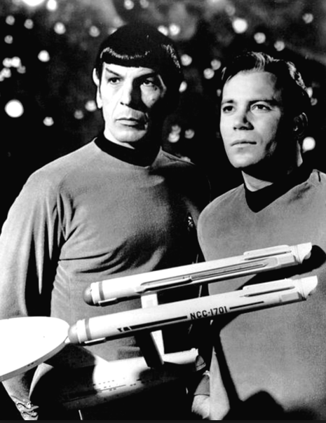 Spock and Kirk with model Enterprise