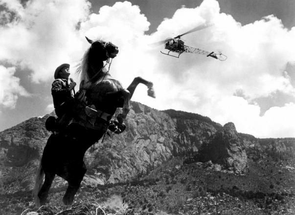 Horse, rider and chopper